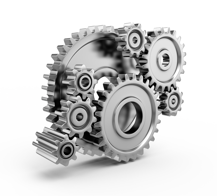 Steel gear wheels - tools and settings icon